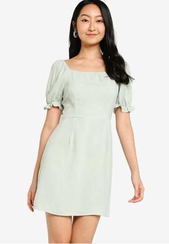 ZALORA BASICS green Square Neck Puff Sleeve Dress EBB7DAA2BD6EA7GS_1