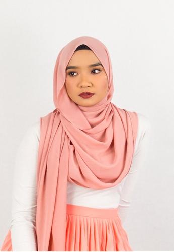 Zaryluq pink Basic Chiffon Shawl in Cotton Candy EAC57AA002D94EGS_1