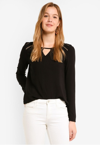 Vero Moda black Bella Boca Long Sleeve Top A3596AA8E5FB8EGS_1