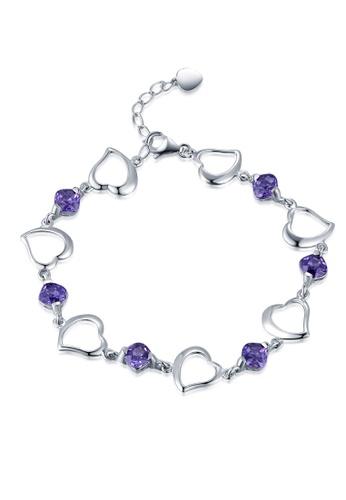 MBLife silver 925 Sterling Silver Purple CZ Streamline Heart Bracelet E65DAACFF456D1GS_1