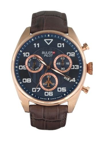 Buler brown and blue Buler Sport Watch - Blue - Gents - Date- 6H BU689AC2VG1QHK_1