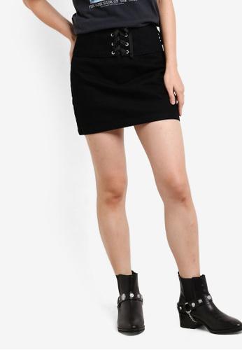 TOPSHOP black Moto Corset Detail Denim Skirt TO412AA57VVEMY_1