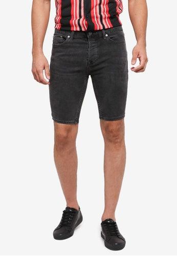 Topman 灰色 Grey Denim Short Stretchy Skin Shorts 702BCAA729DB8DGS_1