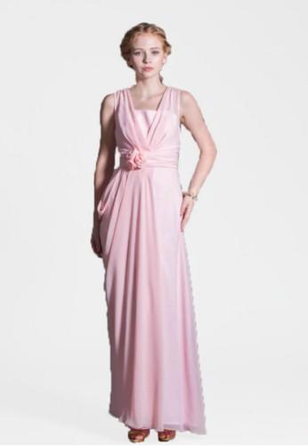 優雅氣質女神交叉肩帶羅zalora是哪裡的牌子馬裙擺長禮服, 服飾, 晚宴禮服