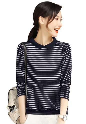 A-IN GIRLS white and navy Simple Striped Long-Sleeved Top 2C499AAD5D8693GS_1