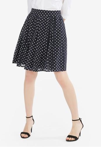 Hopeshow navy High Waist Spotted Skirt 513FFAA21F99BAGS_1