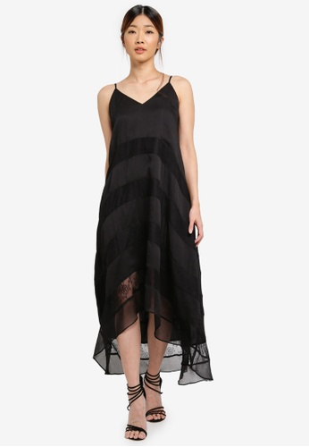 Something Borrowed black Dip Hem Tiered Lace Maxi Dress 97771AA6CD29E9GS_1