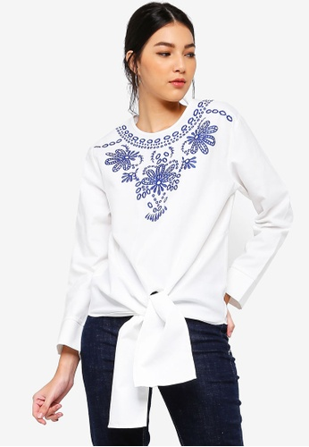 ZALORA white Embroidered Front Tie Top 567D5AA027E861GS_1