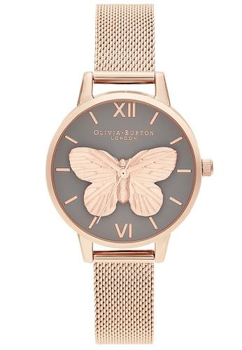 Olivia Burton grey Olivia Burton 3D Butterfly Rose Gold Women's Watch (OB16MB28) 8FAFAACA453984GS_1