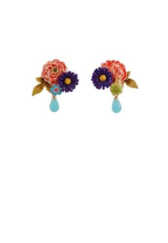 Glamorousky blue Fashion and Elegant Plated Gold Enamel Peony Blue Cubic Zirconia Stud Earrings 6D5ACAC44DADA5GS_1