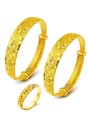 YOUNIQ gold YOUNIQ Premium Classical 24K Plated 2 Units Bangle Set Free YOUNIQ Gold Plated Ring (Gold) YO999AC69LKOMY_1