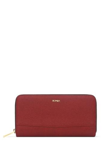 BONIA red Maroon Betsy Zipper Wallet D87C5ACBB05BB8GS_1