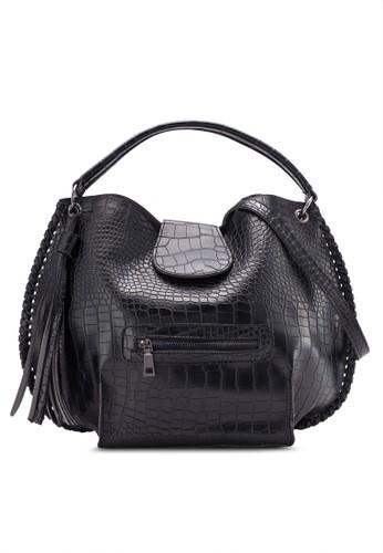 Something Borrowed Oversize Textured Shoulder Bag With Tassels
