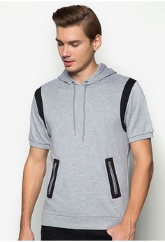 XM-Short Sleeve Hoodie With Patch on Zipper