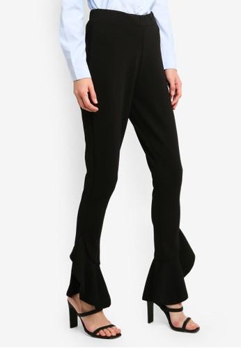Brave Soul black Frill Hem Trousers CEB6BAABF7D47BGS_1