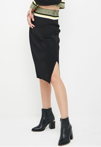 Co-Ord 色塊針zalora退貨織及膝裙, 服飾, 裙子
