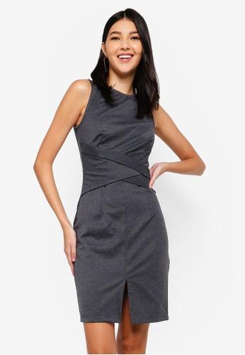 ZALORA grey Ponte Bodycon Dress C553DAABA5D0B2GS_1