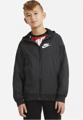 Nike black Boys' Nike Sportswear Windrunner Jacket Hoodie NFS 563F6KAEF7BDA6GS_1