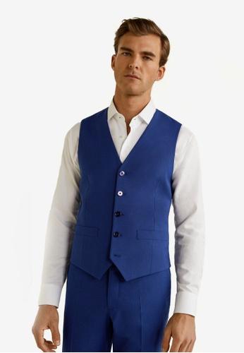 Mango Man 藍色 修身大衣 E473DAAF8E8761GS_1