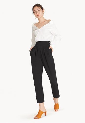 Pomelo black Semi Pleated High Waist Pants - Black 1BF8BAAA30FDFEGS_1
