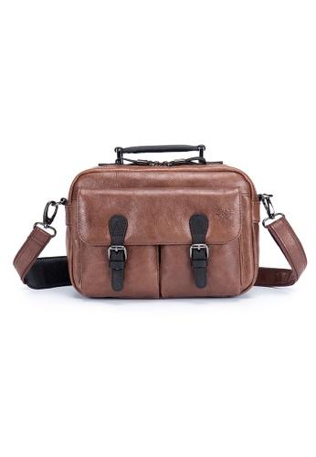 ENZODESIGN brown Voyageur Cow Leather Two Way Top Handle Mini A5 Shoulder Bag EN357AC0GMNBSG_1