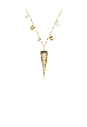 Glamorousky white Fashion and Simple Plated Gold Geometric Triangle Imitation Pearl Pendant with Cubic Zirconia and Necklace 28E28ACD3F7ACAGS_1