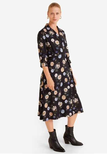 Mango black Floral Print Dress E3EC1AA76FA01AGS_1