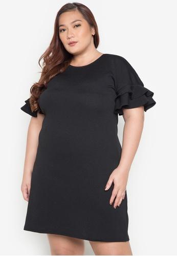 RUESALIDOU black Plus Dolman Ruffle Short Dress RU833AA0JE8LPH_1