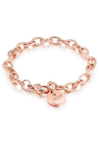 YOUNIQ gold YOUNIQ Soleil Limited Edition Titanium Steel Link  Bracelet (Rosegold) BB158AC6F427F4GS_1