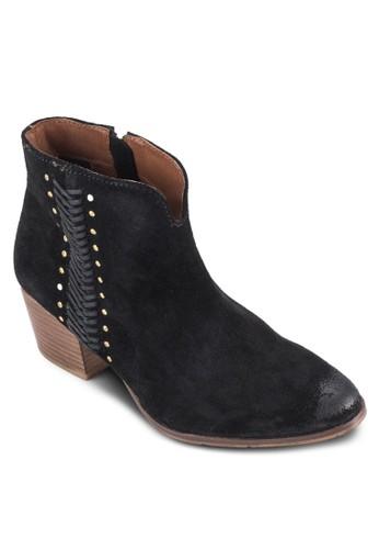 Oesprit hk storepelika 縫合釘邊飾粗跟高筒靴, 女鞋, 鞋