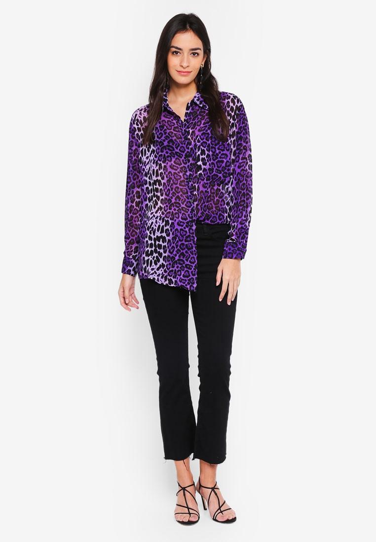 Leopard Leopard Collar Purple Glamorous Print Blouse Zwadqxafpv