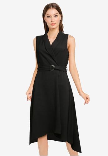 ZALORA WORK black Dipped Hem Shawl Collar Dress 2066BAAF8856F5GS_1