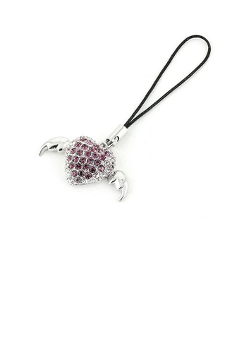 Glamorousky silver Black Strap with Winged Heart Charm in Purple and Silver Austrian Element Crystals 1E0E1AC67A4469GS_1