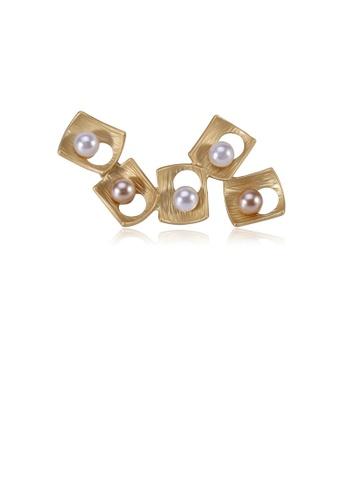 Glamorousky white Fashion Simple Plated Gold Geometric Square Imitation Pearl Brooch DE105ACC92CBE1GS_1