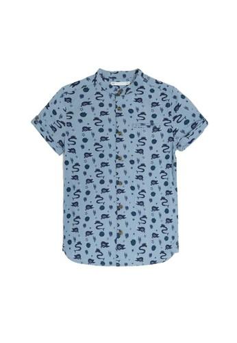 MARKS & SPENCER blue Cotton Creature Print Shirt B737BKA4840E46GS_1