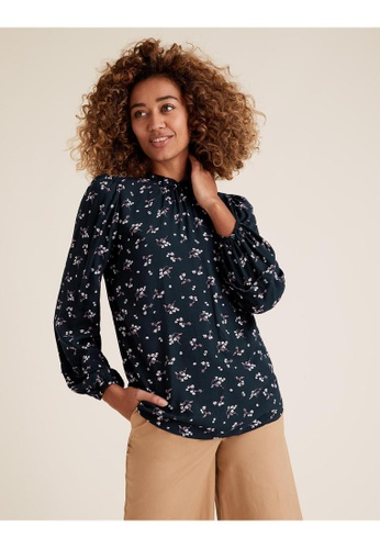 MARKS & SPENCER blue M&S Ditsy Floral Frill Neck Long Sleeve Blouse 07891AA4D52E5CGS_1