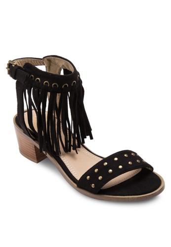 鉚釘一字帶流蘇踝esprit門市帶低跟涼鞋, 女鞋, 鞋