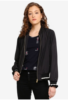 4c45034b432af SCOTCH & SODA black Light Weight Bomber Jacket With Ruffled Ribs  695CBAA6F4DA9BGS_1