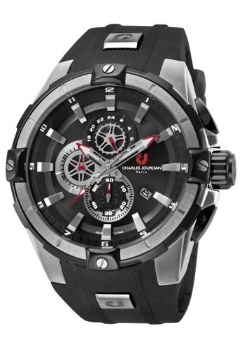 Charles Jourdan black Charles Jourdan Men CJ1040-1332C Black Silicone Watch 6A292ACEED2D23GS_1