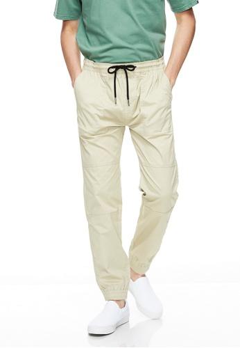Life8 brown Casual Elastic Comfortable Jogger Pants -02495-Khaki 98485AA32F7707GS_1