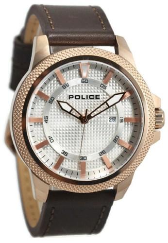 Police Jam Tangan Pria Cokelat Rosegold Leather Strap 14790JSR-04