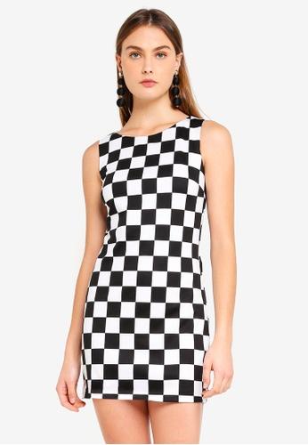 Goddiva black and white and multi Tile Print Shift Mini Dress F12C1AA670F721GS_1