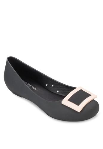 方形扣環果凍平底鞋, 女鞋, 芭zalora退貨蕾平底鞋
