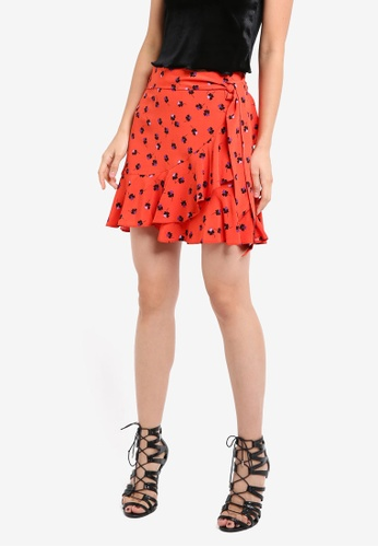 e85eacd9e2 TOPSHOP red Red Flower Ruffle Mini Skirt TO412AA0SRR6MY_1