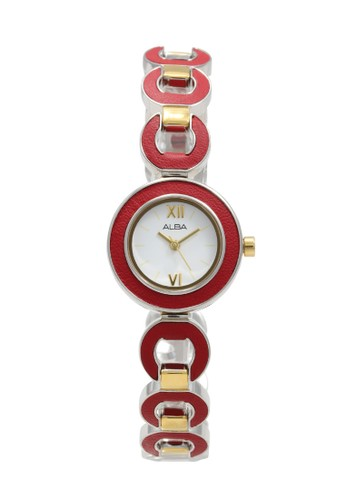 Alba red and gold and silver ALBA Jam Tangan Wanita - Silver Gold Red - Stainless Steel - AC3P03 14E73ACCD61CBCGS_1
