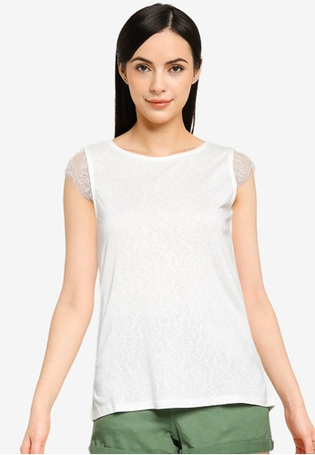Springfield white Linen Effect Lace Sleeves T-Shirt 10EF0AAFF7F406GS_1