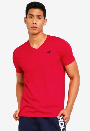 Hollister red V-Neck Pop Icon T-Shirt A7006AA9C64330GS_1