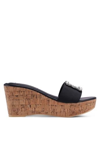 Nose 黑色 鑽飾懶人楔型鞋 2A269SHC4E7565GS_1