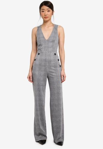 Miss Selfridge grey and multi Check Button Jumpsuit 53404AAB120C40GS_1