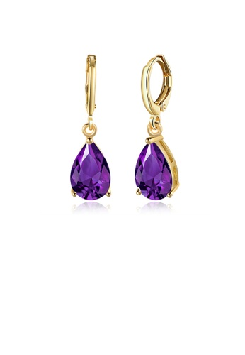 Glamorousky purple Elegant Plated Champagne Gold Water Drop Earrings with Purple Austrian Element Crystal A2F70ACAB8E9A2GS_1